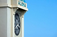 High section view of a clock tower, Hawaii Islands, USA
