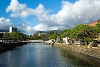 Bridge across a river, Honolulu, Oahu, Hawaii Islands, USA