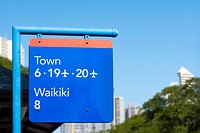 Close-up of a signboard in a city, Honolulu, Oahu, Hawaii Islands, USA