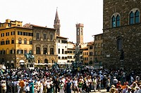 Tourists in a city, Piazza Della Signoria, Florence, Tuscany, Italy
