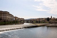 Arch bridge across a river, Arno River, Florence, Italy