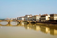 Bridge over a river, Ponte Alle Grazie, Arno River, Florence, Tuscany, Italy