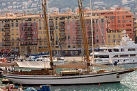 Cruise ship and boats at a harbor, Bassin Lympia, Nice, France