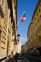 French flag on a building, Nice, France