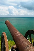 Cannon at the seaside, Morgan Fort, Providencia y Santa Catalina, San Andres y Providencia Department, Colombia