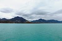 Lake in front of a mountain range, Lake Argentino, Patagonia, Argentina