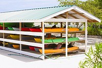 Group of canoes in a stand, Dixon Cove, Roatan, Bay Islands, Honduras (thumbnail)