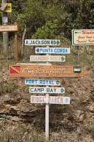 Information boards on a pole, Roatan, Bay Islands, Honduras