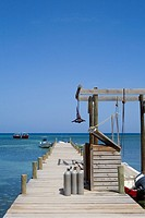 Pier in the sea, West End, Half Moon Bay, Roatan, Bay Islands, Honduras