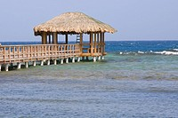 Pier in the sea, Osgood Cay, Roatan, Bay Islands, Honduras