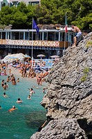 High angle view of tourists swimming in the sea, Marine Piccola Beach, Capri, Campania, Italy