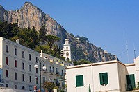 Low angle view of a building with a cliff in the background, Capri, Campania, Italy