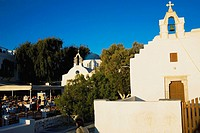 Facade of a church, Mykonos, Cyclades Islands, Greece