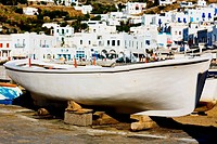 Boat at the dock, Mykonos, Cyclades Islands, Greece