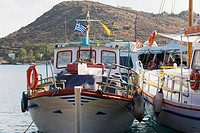 Yachts moored at a harbor, Skala, Patmos, Dodecanese Islands, Greece (thumbnail)