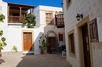 Courtyard of buildings, Patmos, Dodecanese Islands, Greece