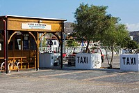 Taxi stand in a city, Patmos, Dodecanese Islands, Greece