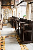 Pews in a church, Monastery of St John the Divine, Patmos, Dodecanese Islands, Greece (thumbnail)