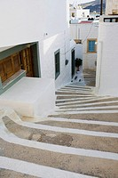 High angle view of steps between buildings, Patmos, Dodecanese Islands, Greece