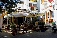 Sidewalk cafe in a city, Patmos, Dodecanese Islands, Greece