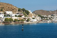 Buildings at the waterfront, Patmos, Dodecanese Islands, Greece