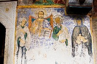 Low angle view of a mural on the wall of a church, Monastery of St  John the Divine, Patmos, Dodecanese Islands, Greece