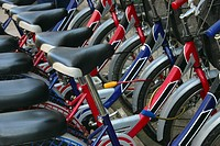 Close-up of a group of bicycles parked in a row, Vientiane, Laos
