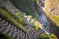 High angle view of the old ruins, Choquequirao, Inca, Cusco Region, Peru
