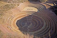 High angle view of a circular terraced field, Moray, Cuzco, Peru