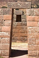 Stone wall of a temple, Temple of the Moon, Pisaq, Cuzco, Peru