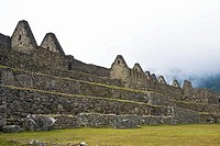 Low angle view of ruins on mountains, Machu Picchu, Cusco Region, Peru
