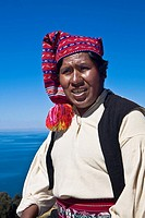 Close-up of a young man wearing headdress, Taquile Island, Lake Titicaca, Puno, Peru