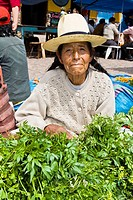 Portrait of a senior woman sitting at a market stall