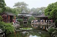 View of tourists by Stupas, Tuisi Garden in Tongli region of rivers and lakes, Tongli Town, Wujiang City, Jiangsu Province of People´s Republic of Chi...