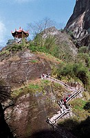 Temple on the mountain, View of Tianyou Peak of Mount Wuyi, Wuyishan City, Fujian Province, People´s Republic of China, FOR EDITORIAL USE ONLY