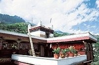 View of traditional house against cloudy sky, The Zang nationality people's house in Danba, Danba County, Ganzi State, Sichuan Province of People's Re...
