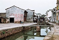 Small bridge in Tangmo Village, Shexian County, Anhui Province, People´s Republic of China, FOR EDITORIAL USE ONLY