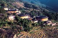 Earth towers, Tianluokeng Village, Nanjing County, Zhangzhou City, Fujian Province, People´s Republic of China