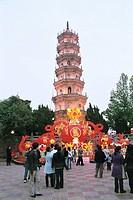 Mawei and Mazu ethnic people celebrating the lantern festival in Luoxing tower park, Mawei District , Fuzhou City, Fujian Province, People´s Republic ...