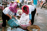 Huian women selling fish, Xiaozuo Village, Huian County, Fujian Province of People´s Republic of China, FOR EDITORIAL USE ONLY