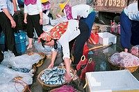 Huian women selling fish, Xiaozuo Village, Huian County, Fujian Province of People's Republic of China, FOR EDITORIAL USE ONLY