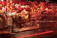 People by lantern shops at night, Fuzhou City, Fujian Province of People's Republic of China, FOR EDITORIAL USE ONLY