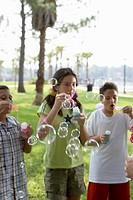 Children blowing bubbles at a park