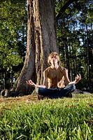 Hippie meditating