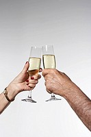 Senior man and woman toasting with champagne, side view, close-up of hands