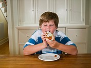Overweight boy 10-11 sitting at table eating hot dog
