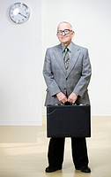 Senior man with briefcase