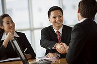 Happy businesspeople shaking hands
