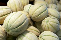 Heap of rock melons, close up
