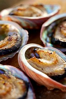 Barbecued abalone, close-up, differential focus